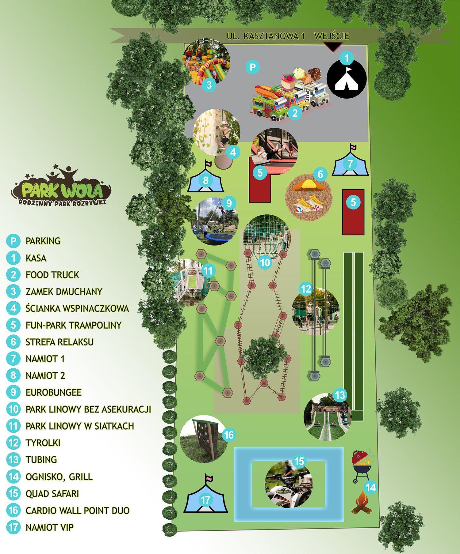 Park Wola mapa atrakcji Kraków